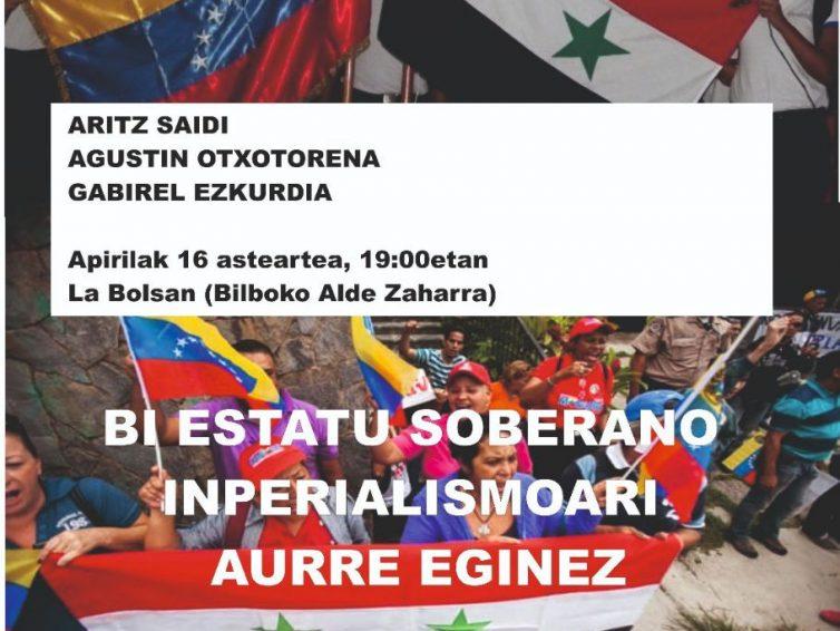 Venezuela eta Siriaren inguruko hitzaldia Siriaren aldeko Euskal Herriko plataformaren eskutik Bilbon