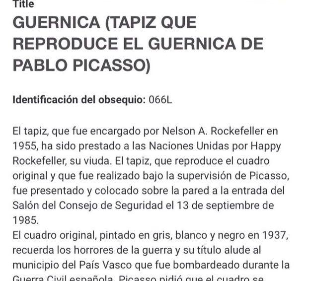 Por una rectificación urgente de la web de la ONU en su reseña sobre el 'Guernica'