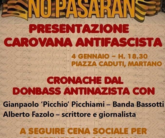 Presentación de la Caravana Antifascista y charla internacionalista sobre el Donbass el proximo 4 de enero en Martano (Italia)